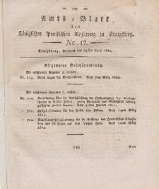 Amts-Blatt der Königlichen Preußischen Regierung zu Königsberg, Mittwoch, 24. April 1822, Nr. 17