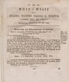 Amts-Blatt der Königlichen Preußischen Regierung zu Königsberg, Mittwoch, 1. Mai 1822, Nr. 18