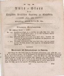 Amts-Blatt der Königlichen Preußischen Regierung zu Königsberg, Mittwoch, 8. Mai 1822, Nr. 20