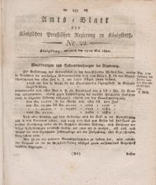 Amts-Blatt der Königlichen Preußischen Regierung zu Königsberg, Mittwoch, 15. Mai 1822, Nr. 22