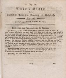 Amts-Blatt der Königlichen Preußischen Regierung zu Königsberg, Mittwoch, 22. Mai 1822, Nr. 23