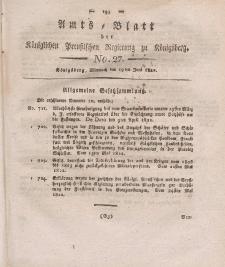 Amts-Blatt der Königlichen Preußischen Regierung zu Königsberg, Mittwoch, 19. Juni 1822, Nr. 27