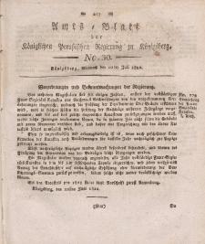 Amts-Blatt der Königlichen Preußischen Regierung zu Königsberg, Mittwoch, 10. Juli 1822, Nr. 30