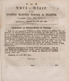 Amts-Blatt der Königlichen Preußischen Regierung zu Königsberg, Mittwoch, 24. Juli 1822, Nr. 32