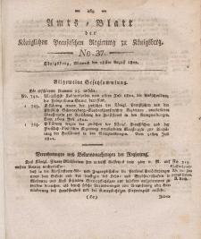 Amts-Blatt der Königlichen Preußischen Regierung zu Königsberg, Mittwoch, 28. August 1822, Nr. 37