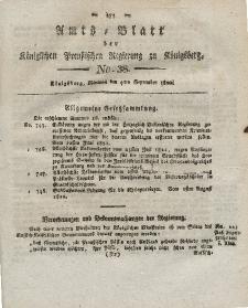 Amts-Blatt der Königlichen Preußischen Regierung zu Königsberg, Mittwoch, 4. September 1822, Nr. 38