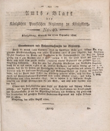 Amts-Blatt der Königlichen Preußischen Regierung zu Königsberg, Mittwoch, 18. September 1822, Nr. 40