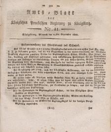 Amts-Blatt der Königlichen Preußischen Regierung zu Königsberg, Mittwoch, 25. September 1822, Nr. 41