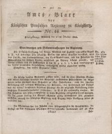 Amts-Blatt der Königlichen Preußischen Regierung zu Königsberg, Mittwoch, 16. Oktober 1822, Nr. 44