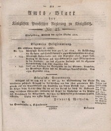 Amts-Blatt der Königlichen Preußischen Regierung zu Königsberg, Mittwoch, 23. Oktober 1822, Nr. 45