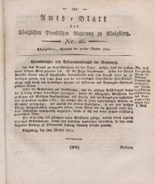 Amts-Blatt der Königlichen Preußischen Regierung zu Königsberg, Mittwoch, 30. Oktober 1822, Nr. 46