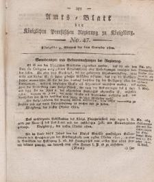 Amts-Blatt der Königlichen Preußischen Regierung zu Königsberg, Mittwoch, 6. November 1822, Nr. 47