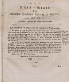 Amts-Blatt der Königlichen Preußischen Regierung zu Königsberg, Mittwoch, 20. November 1822, Nr. 49