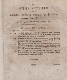 Amts-Blatt der Königlichen Preußischen Regierung zu Königsberg, Mittwoch, 27. November 1822, Nr. 50