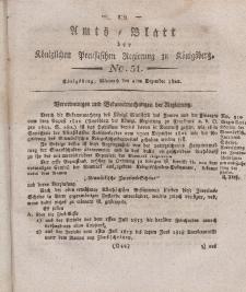 Amts-Blatt der Königlichen Preußischen Regierung zu Königsberg, Mittwoch, 4. Dezember 1822, Nr. 51
