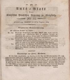 Amts-Blatt der Königlichen Preußischen Regierung zu Königsberg, Mittwoch, 28. Dezember 1822, Nr. 55