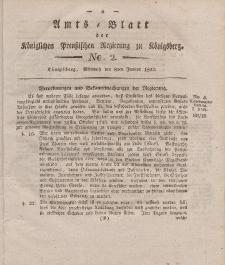 Amts-Blatt der Königlichen Preußischen Regierung zu Königsberg, Mittwoch, 8. Januar 1823, Nr. 2