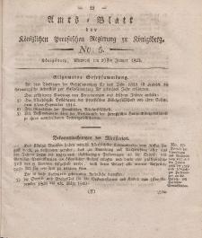 Amts-Blatt der Königlichen Preußischen Regierung zu Königsberg, Mittwoch, 29. Januar 1823, Nr. 5