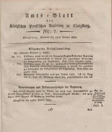 Amts-Blatt der Königlichen Preußischen Regierung zu Königsberg, Mittwoch, 12. Februar 1823, Nr. 7