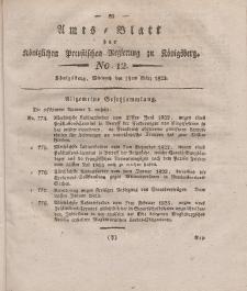 Amts-Blatt der Königlichen Preußischen Regierung zu Königsberg, Mittwoch, 19. März 1823, Nr. 12