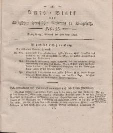 Amts-Blatt der Königlichen Preußischen Regierung zu Königsberg, Mittwoch, 9. April 1823, Nr. 15