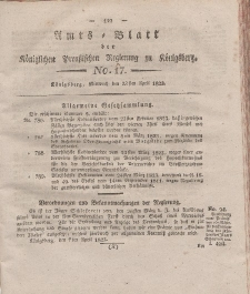 Amts-Blatt der Königlichen Preußischen Regierung zu Königsberg, Mittwoch, 23. April 1823, Nr. 17