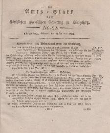 Amts-Blatt der Königlichen Preußischen Regierung zu Königsberg, Mittwoch, 28. Mai 1823, Nr. 22