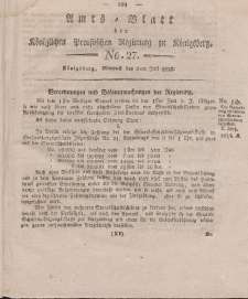 Amts-Blatt der Königlichen Preußischen Regierung zu Königsberg, Mittwoch, 2. Juli 1823, Nr. 27