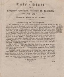 Amts-Blatt der Königlichen Preußischen Regierung zu Königsberg, Mittwoch, 9. Juli 1823, Nr. 28