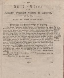 Amts-Blatt der Königlichen Preußischen Regierung zu Königsberg, Mittwoch, 30. Juli 1823, Nr. 31