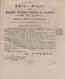Amts-Blatt der Königlichen Preußischen Regierung zu Königsberg, Mittwoch, 27. August 1823, Nr. 35