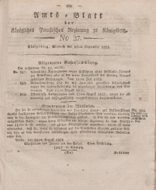 Amts-Blatt der Königlichen Preußischen Regierung zu Königsberg, Mittwoch, 10. September 1823, Nr. 37