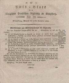 Amts-Blatt der Königlichen Preußischen Regierung zu Königsberg, Mittwoch, 24. September 1823, Nr. 39