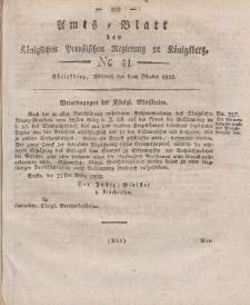 Amts-Blatt der Königlichen Preußischen Regierung zu Königsberg, Mittwoch, 8. Oktober 1823, Nr. 41