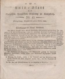 Amts-Blatt der Königlichen Preußischen Regierung zu Königsberg, Mittwoch, 15. Oktober 1823, Nr. 42