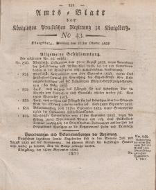 Amts-Blatt der Königlichen Preußischen Regierung zu Königsberg, Mittwoch, 22. Oktober 1823, Nr. 43