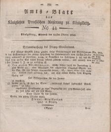 Amts-Blatt der Königlichen Preußischen Regierung zu Königsberg, Mittwoch, 29. Oktober 1823, Nr. 44