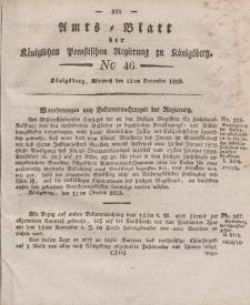 Amts-Blatt der Königlichen Preußischen Regierung zu Königsberg, Mittwoch, 12. November 1823, Nr. 46