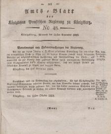 Amts-Blatt der Königlichen Preußischen Regierung zu Königsberg, Mittwoch, 26. November 1823, Nr. 48