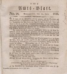 Amts-Blatt der Königl. Regierung zu Marienwerder, 10. Juli 1835, No. 28.