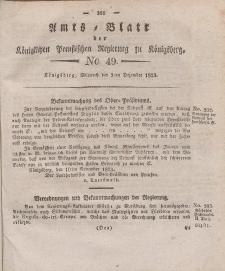 Amts-Blatt der Königlichen Preußischen Regierung zu Königsberg, Mittwoch, 3. Dezember 1823, Nr. 49