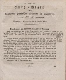 Amts-Blatt der Königlichen Preußischen Regierung zu Königsberg, Mittwoch, 10. Dezember 1823, Nr. 50