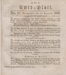 Amts-Blatt der Königl. Regierung zu Marienwerder, 11. September 1835, No. 37.
