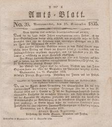 Amts-Blatt der Königl. Regierung zu Marienwerder, 25. September 1835, No. 39.