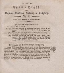 Amts-Blatt der Königlichen Preußischen Regierung zu Königsberg, Mittwoch, 28. Juli 1824, Nr. 32