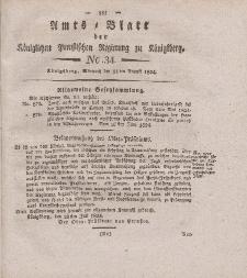 Amts-Blatt der Königlichen Preußischen Regierung zu Königsberg, Mittwoch, 11. August 1824, Nr. 34