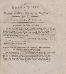 Amts-Blatt der Königlichen Preußischen Regierung zu Königsberg, Mittwoch, 1. September 1824, Nr. 37