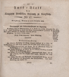 Amts-Blatt der Königlichen Preußischen Regierung zu Königsberg, Mittwoch, 10. November 1824, Nr. 47