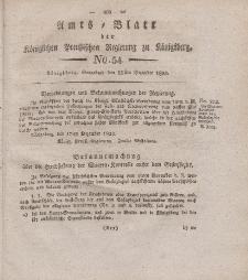 Amts-Blatt der Königlichen Preußischen Regierung zu Königsberg, Mittwoch, 25. Dezember 1824, Nr. 54