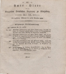 Amts-Blatt der Königlichen Preußischen Regierung zu Königsberg, Mittwoch, 29. Dezember 1824, Nr. 55
